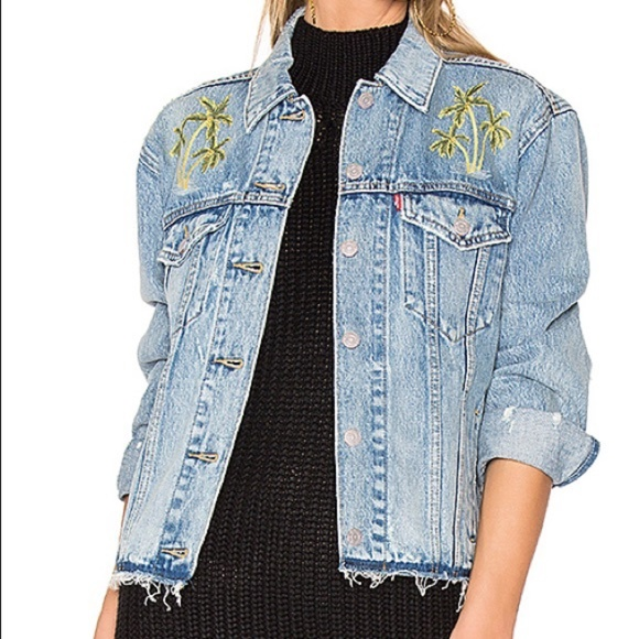 Levi's Palm Tree Embroidered Trucker Jean Jacket